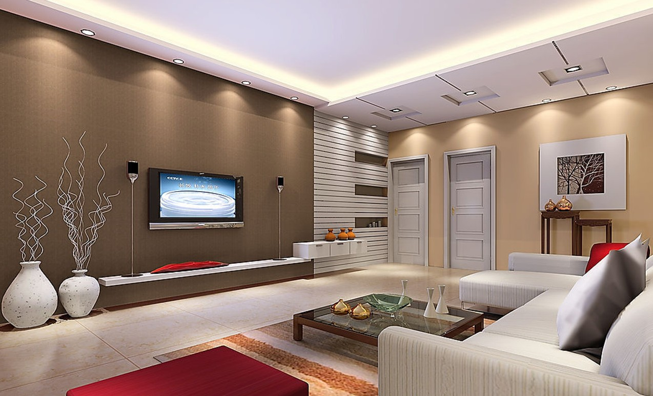Creative Ideas- Living Room Interior Design With Wooden Coffee Table  Ceiling Lights And White Sofa