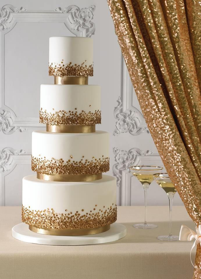 Gold Sequin Wedding Cake