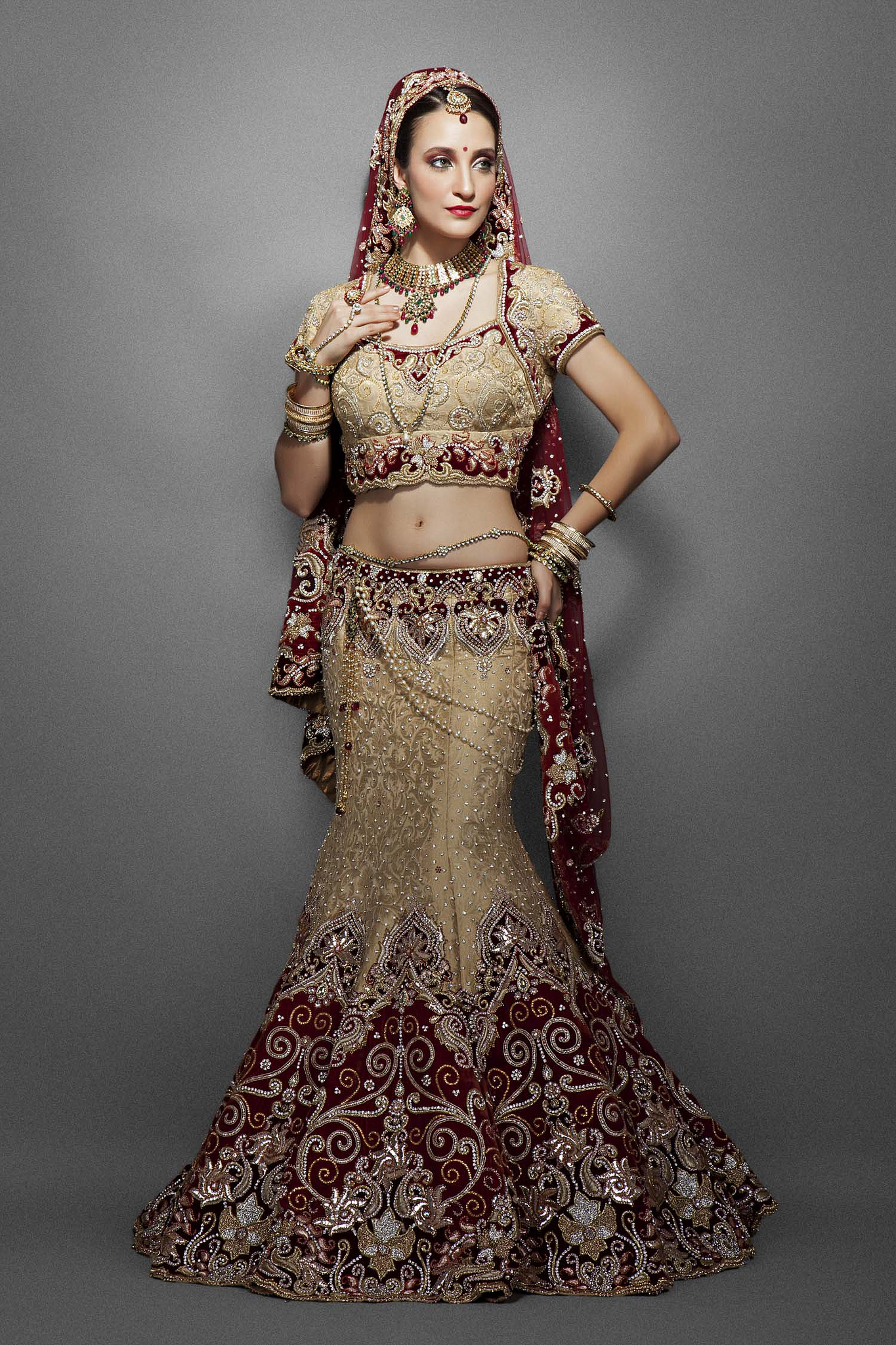 Gold brocade bridal Lehenga with traditional embroidery