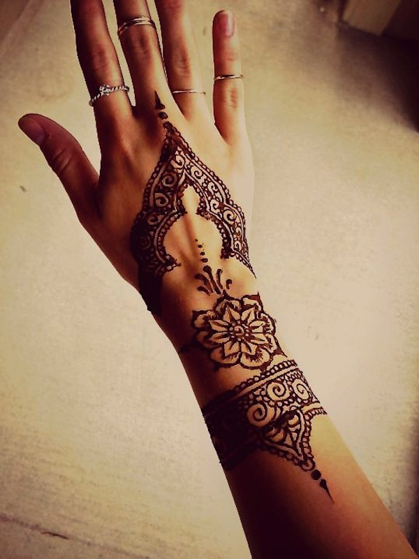simple henna tattoo on hand. Black Bedroom Furniture Sets. Home Design Ideas