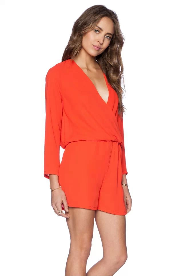 Spring-Summer-2015-New-V-neck-Backless-Long-Sleeve-Jumpsuits-Bodysuit-Playsuit-Women-Shorts-Elastic-Waist