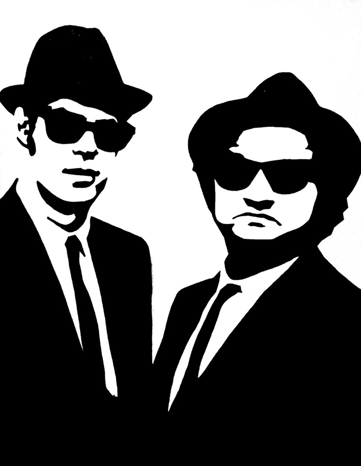 The Blues Brothers Black & White Art Canvas Painting