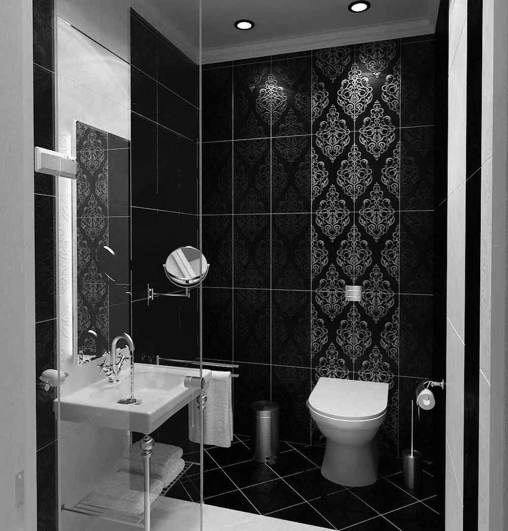 Cool black and white bathroom design ideas for Small bathroom design black and white