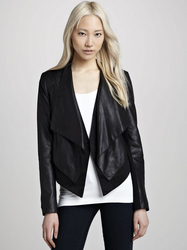 Cusp by Neiman Marcus Layered Ponte:Leather Jacket