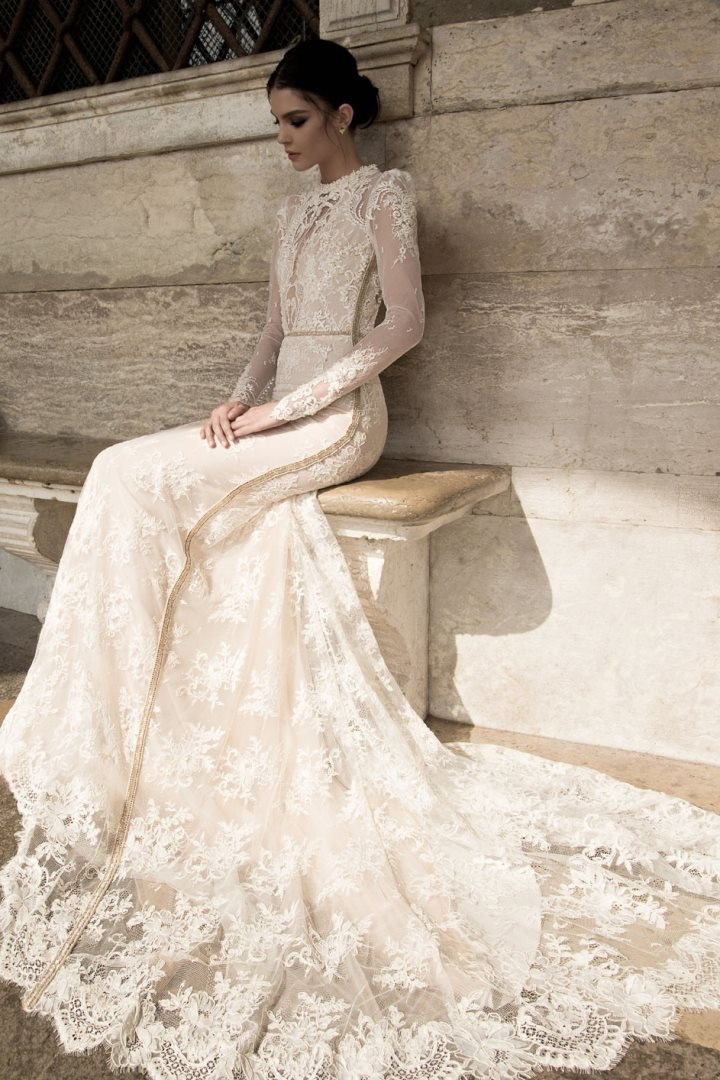 crew-neck-long-sleeve-sheer-lace-floor-length-wedding-dress-spring-2015