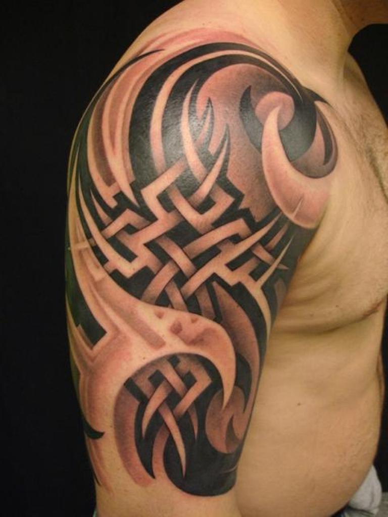 35 amazing 3d tattoo designs for Tribal half sleeve tattoos