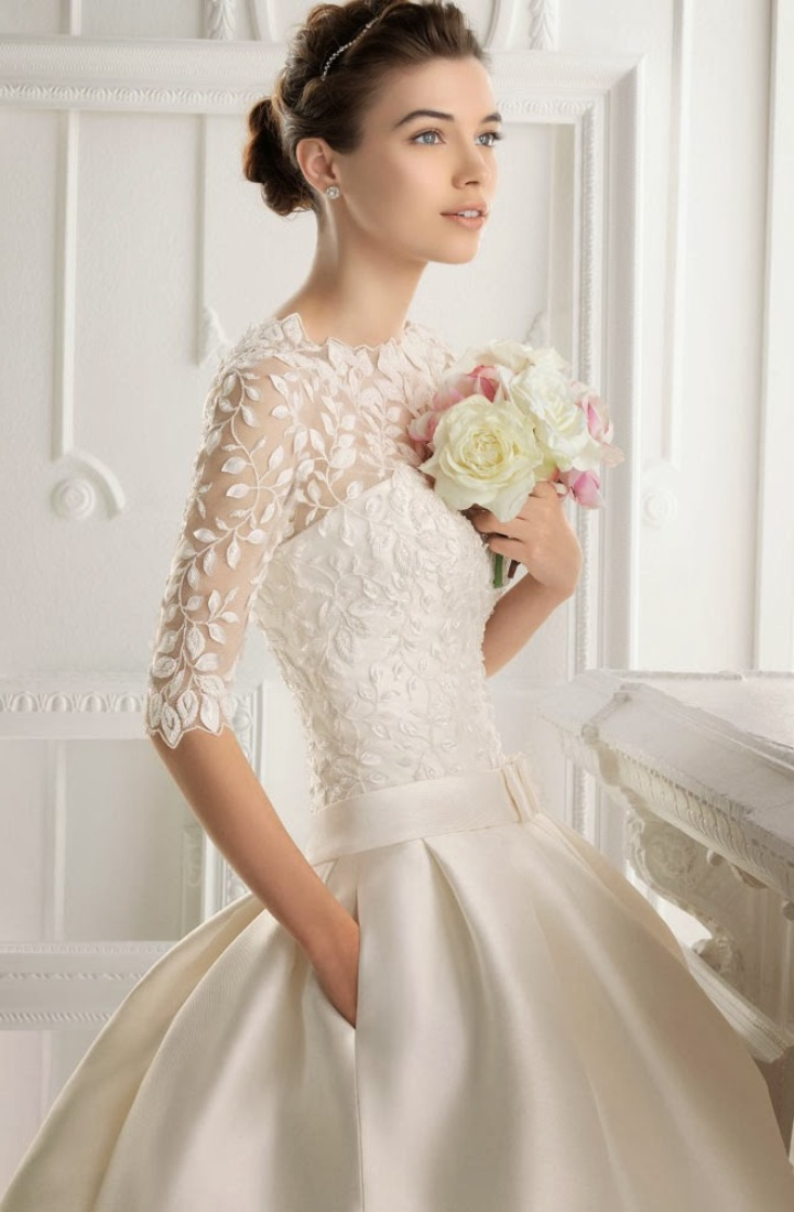 short-ball-gown-wedding-dress-with-3-per-4-sleeves