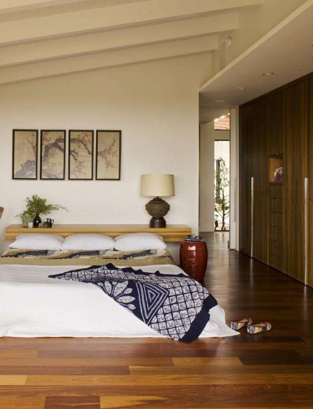 Asian style Zen master bedroom with a relaxed atmosphere