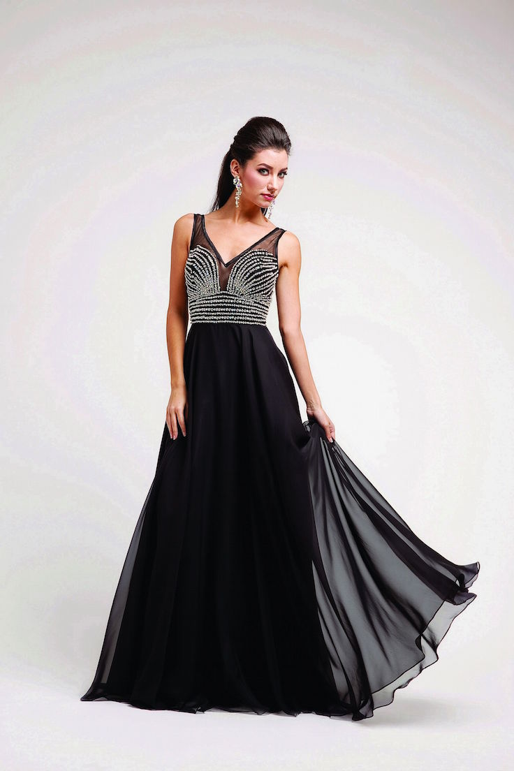 Beaded Strapped Boat Neck Long Sexy Prom Dresses