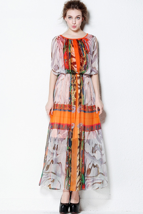 Bohemian Maxi Dresses With Sleeves