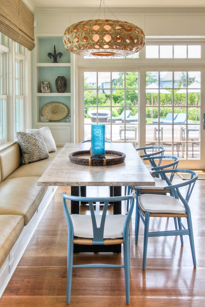 Engaging-Replacement-Window-home-remodeling-Beach-Style-Dining-Room-New-York