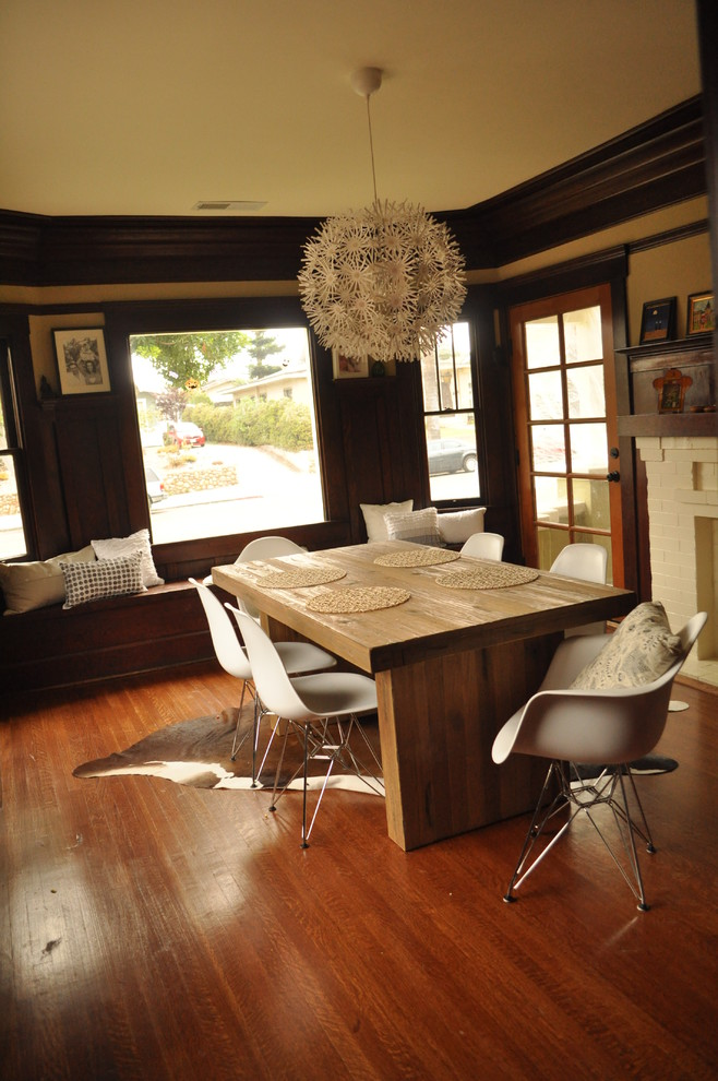 Fair Wood Table home interior design San Diego Transitional chunky wooden table contrast cowhide craftsman house