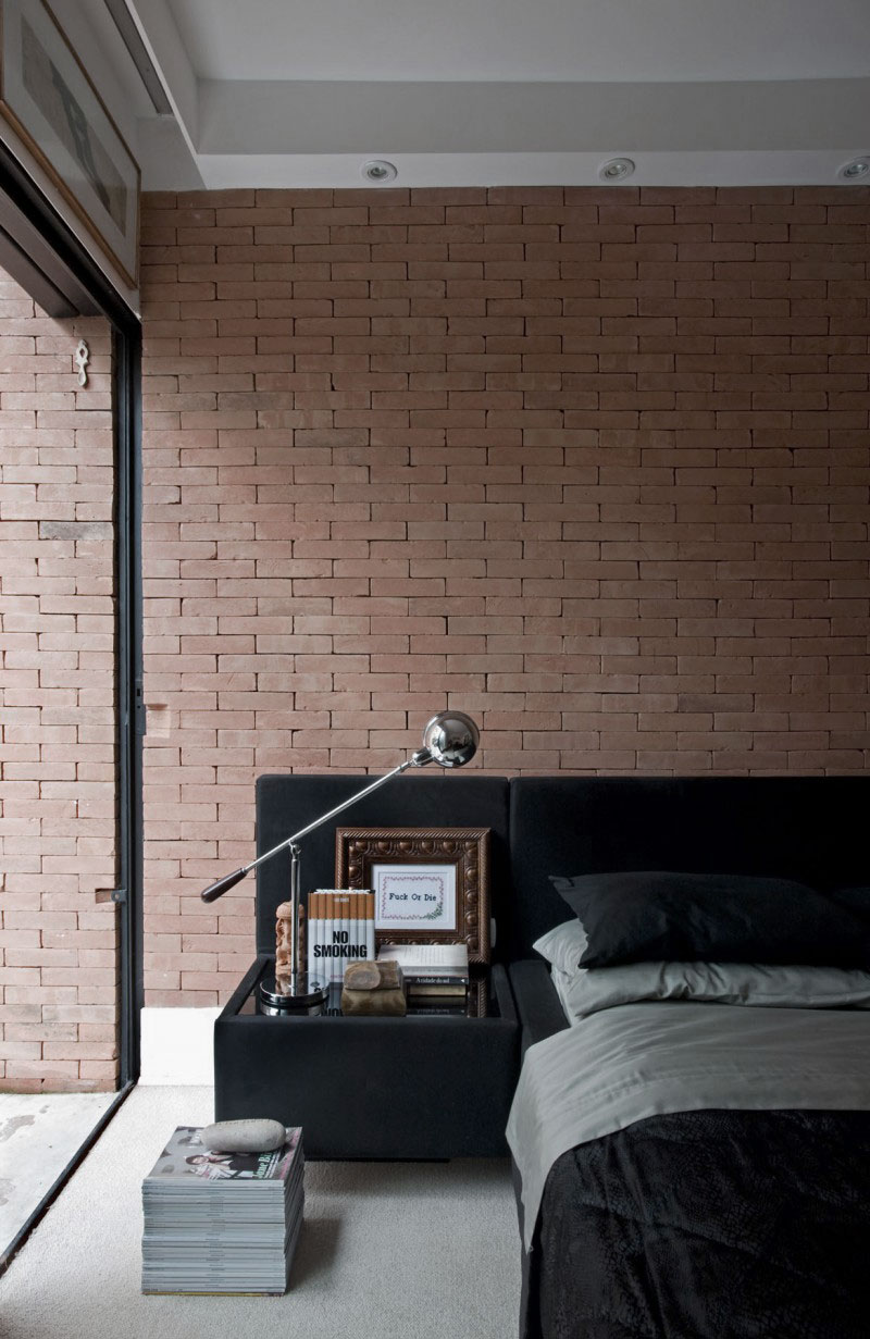 Industrial Contemporary Bedroom Design Ideas with Brick Wall