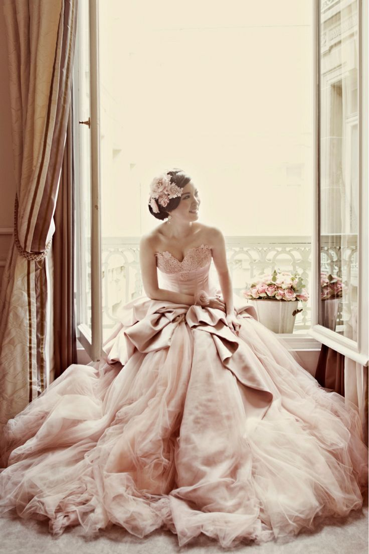 Pastel wedding dress pink