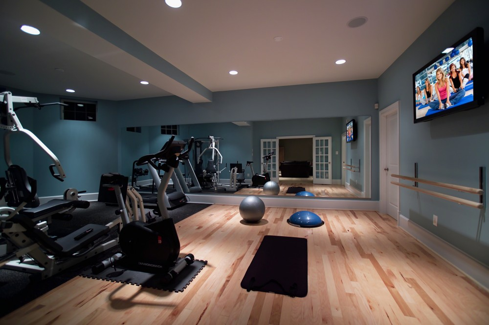 Stylish basement home gym