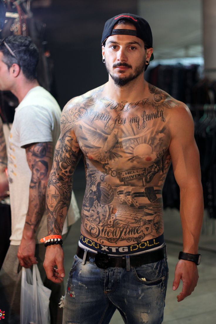 Men Chest And Upper Sleeve With Nice Flowers Tattoo: 30 Best Chest Tattoos For Men