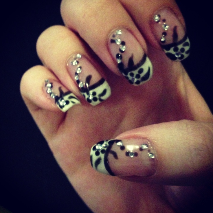 Black and white French gel nail design