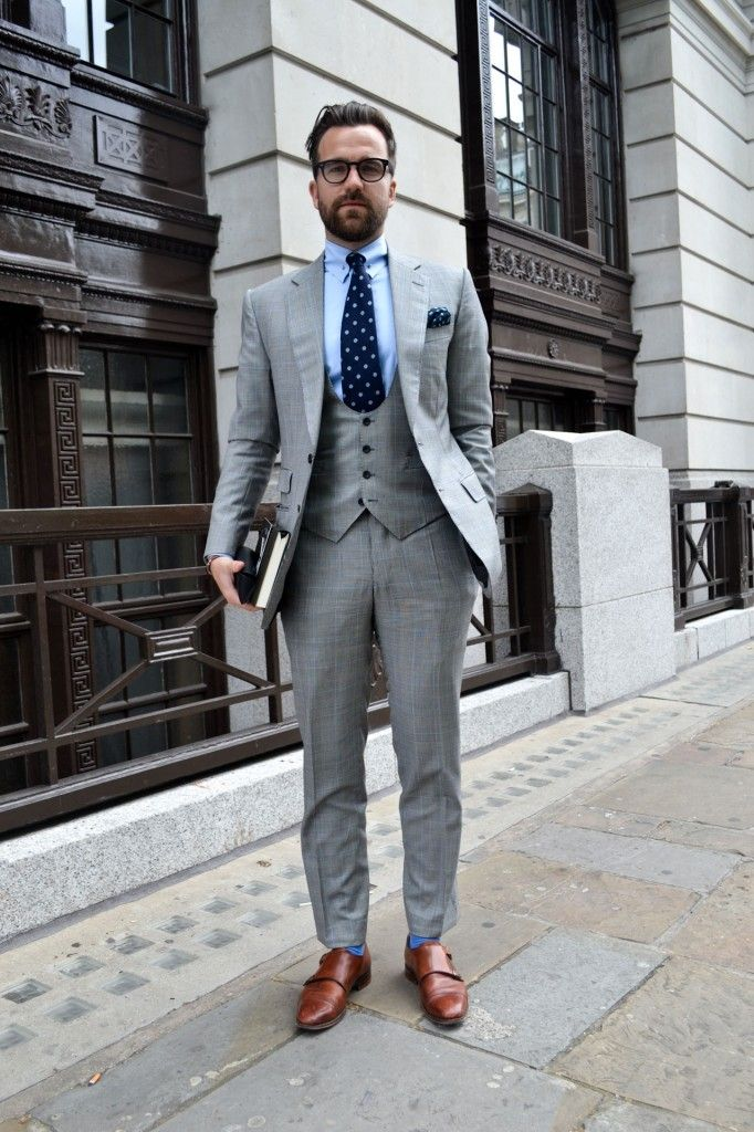 Gray suit brown shoes