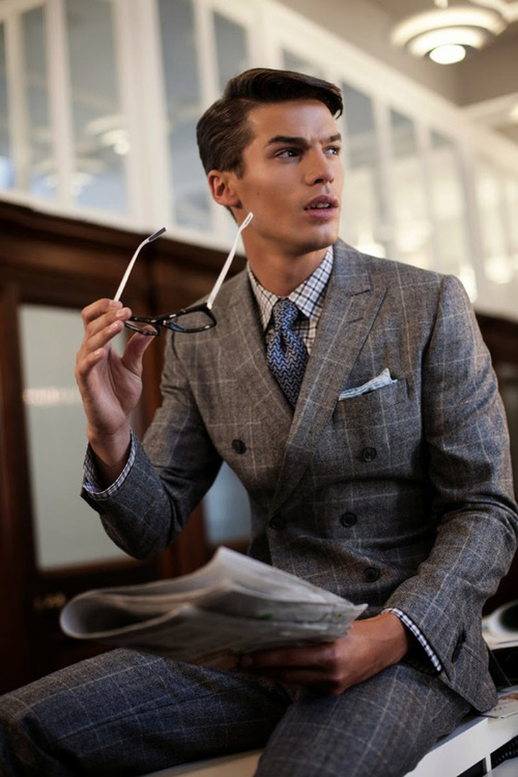 Grey Tweed Double Breasted Suit