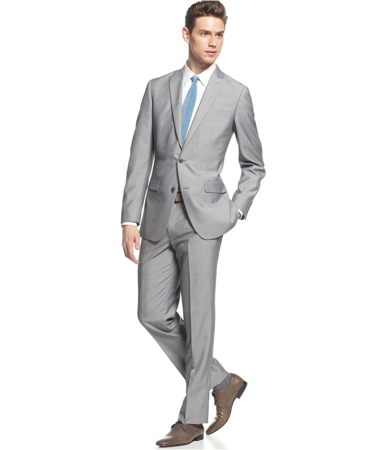 Light Grey Texture Slim Fit - Suits