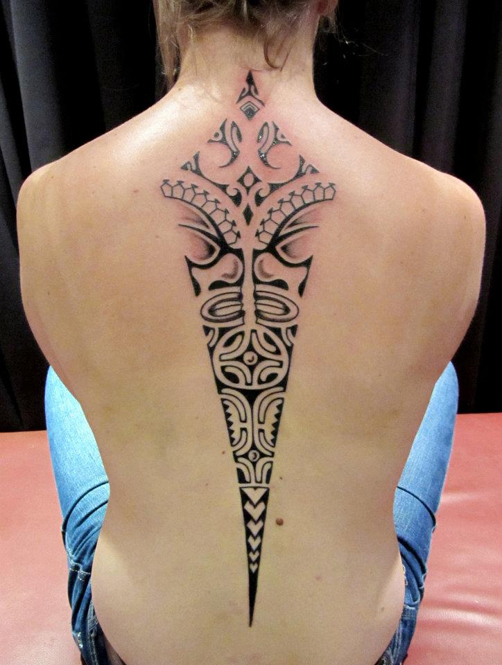 Maori Tattoo on Spine By Ponch Studio