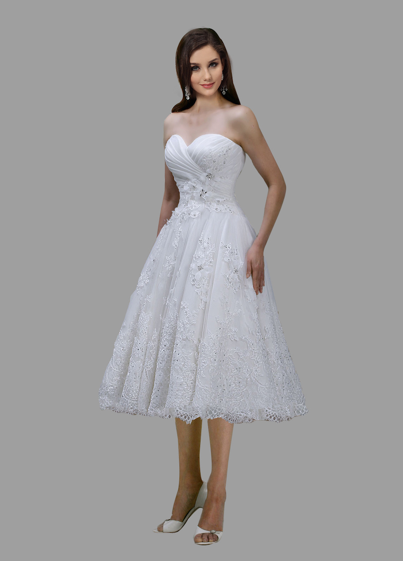 White Tea Length Dresses Wedding