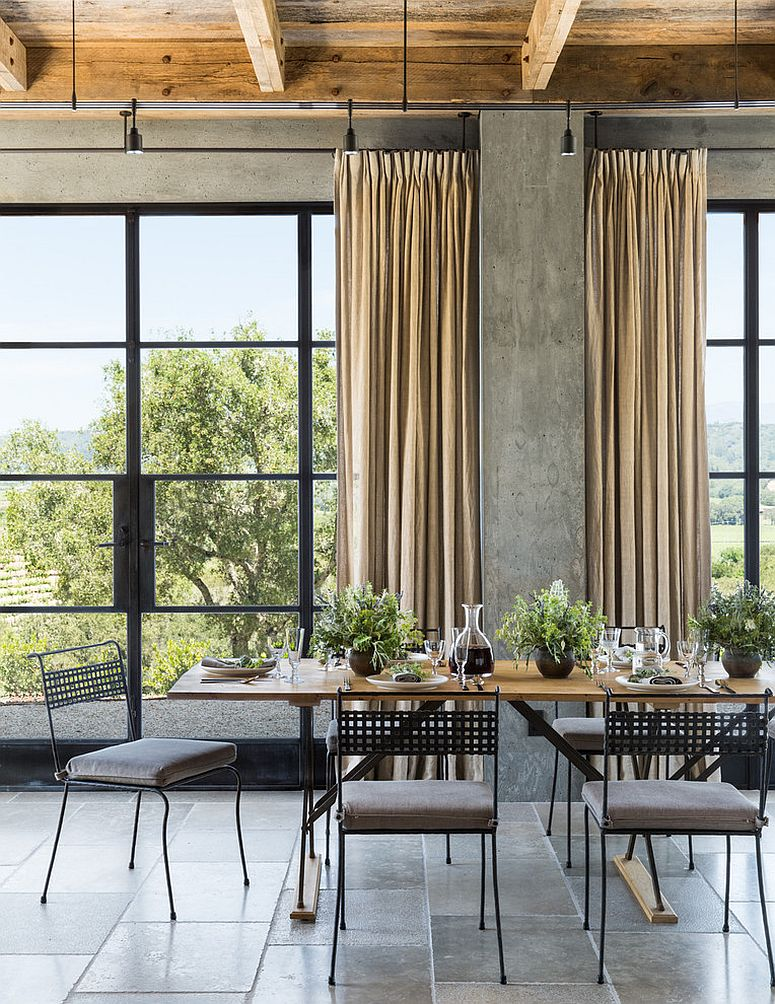concrete walls farmhouse dining room beautiful curtains and dining sets