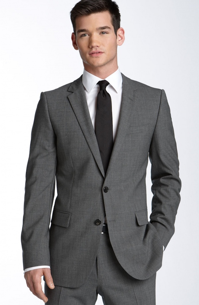 hugo aikonen grey stretch wool suit