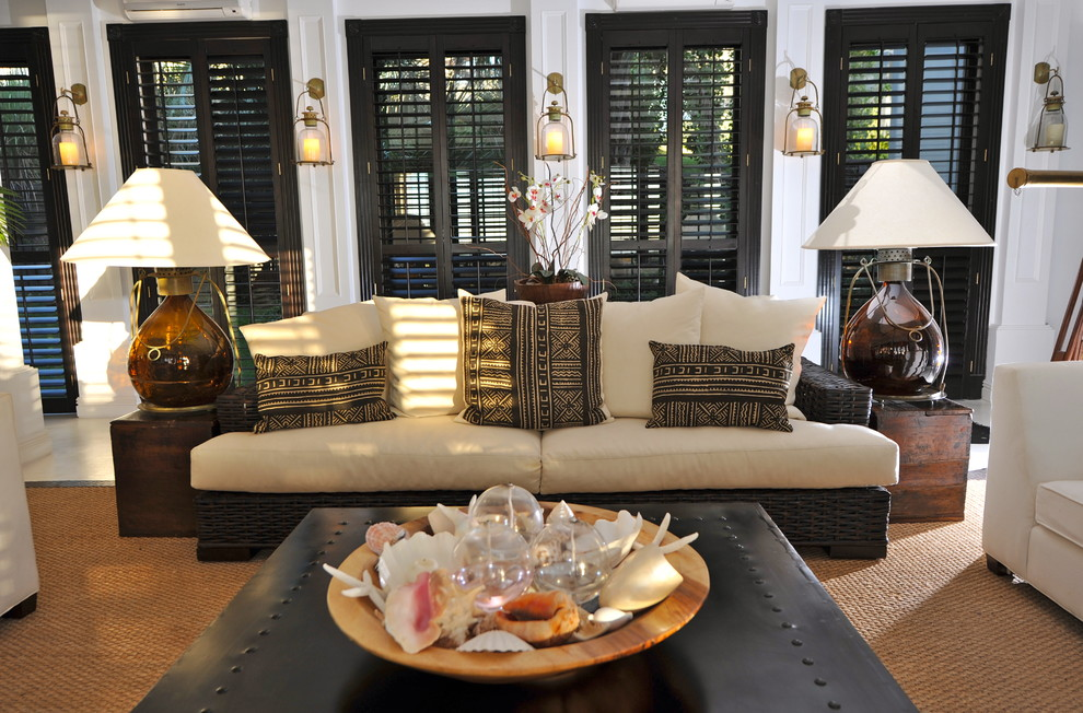 plantation shutters Living Room Tropical with black shutters lantern wall