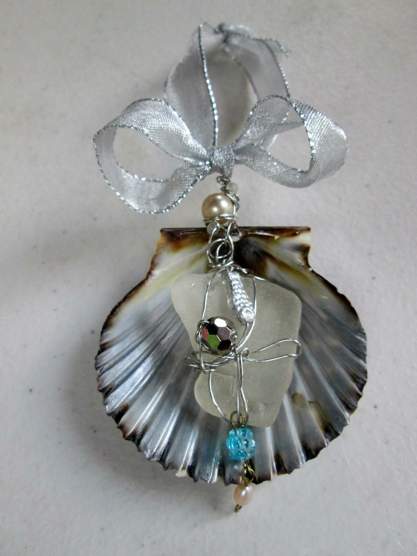 Shell And Sea Glass Christmas Ornament Decor