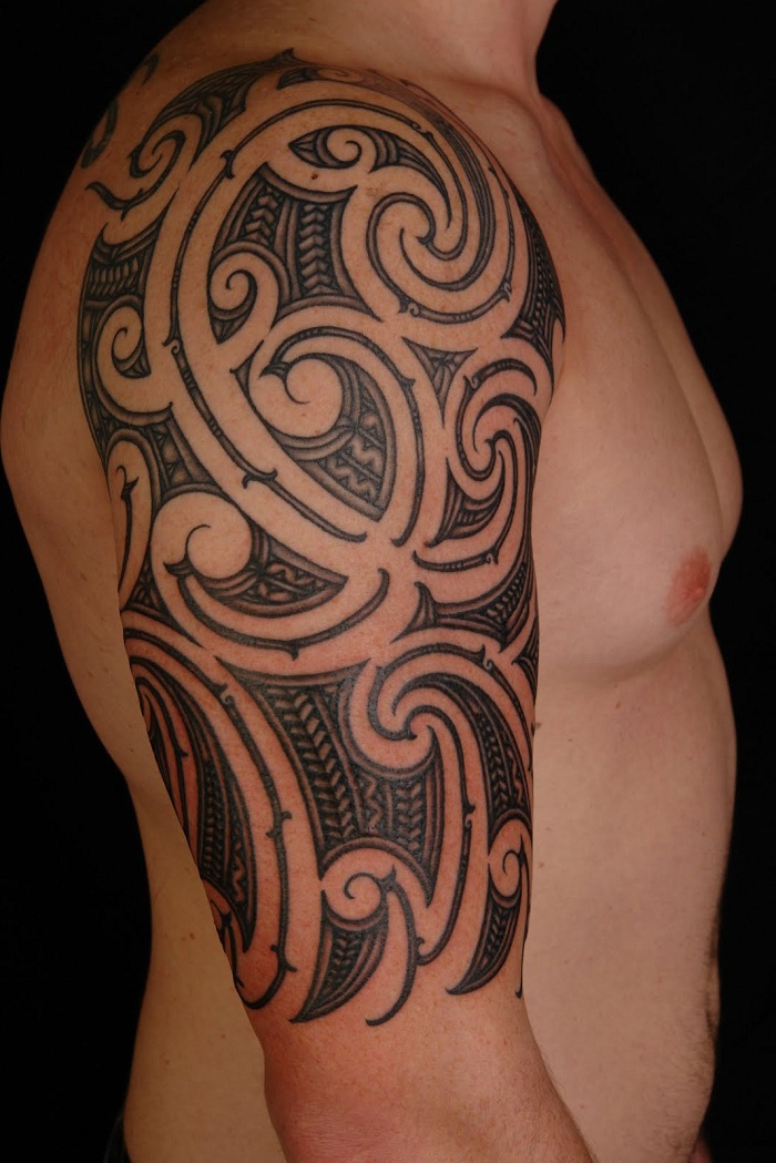 25 half sleeve tattoo designs for men feed inspiration for Tribal half sleeve tattoos
