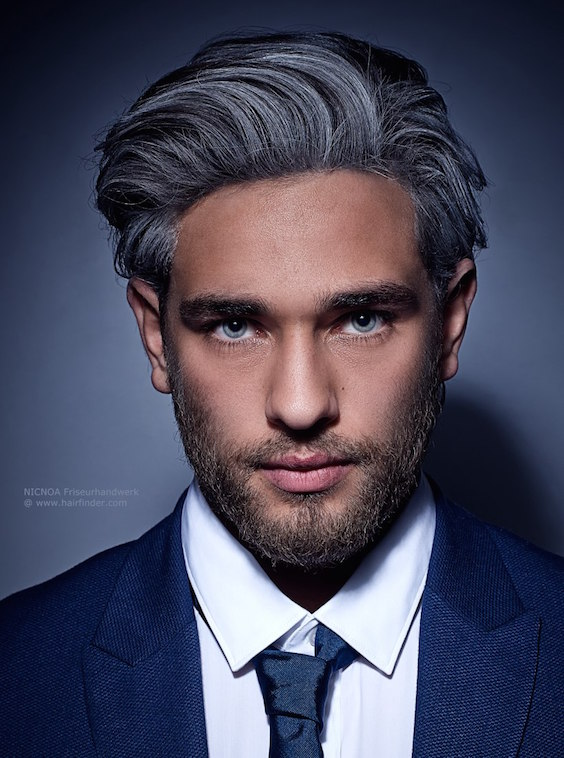 Gray hair with streaks for men