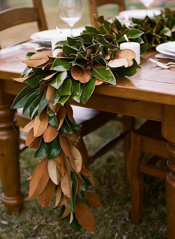 DIY Magnolia Leaf Garland How To Decorate A Round Coffee Table