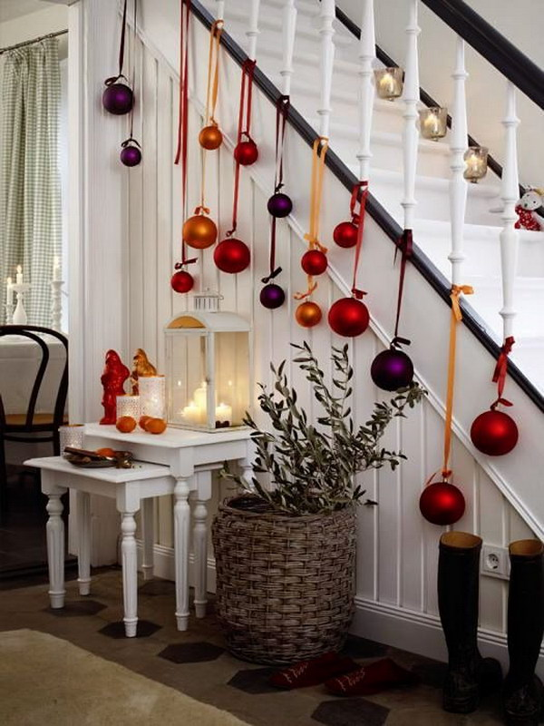fresh festive christmas staircase with ornaments