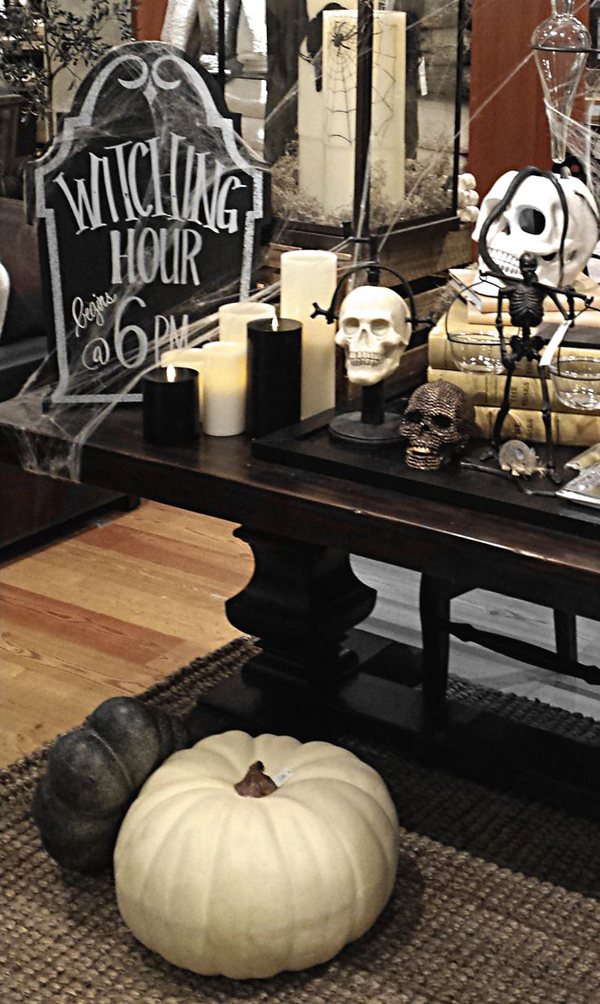classic black and white halloween decor
