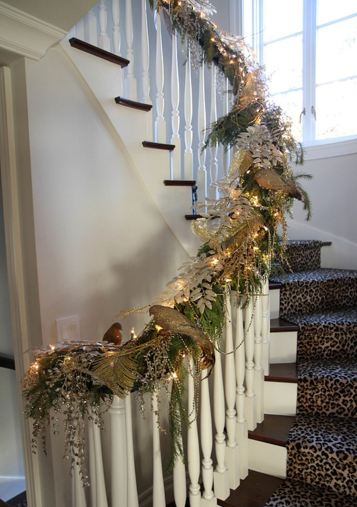 Christmas decorating ideas railings all ideas about for Stair railing decorated for christmas