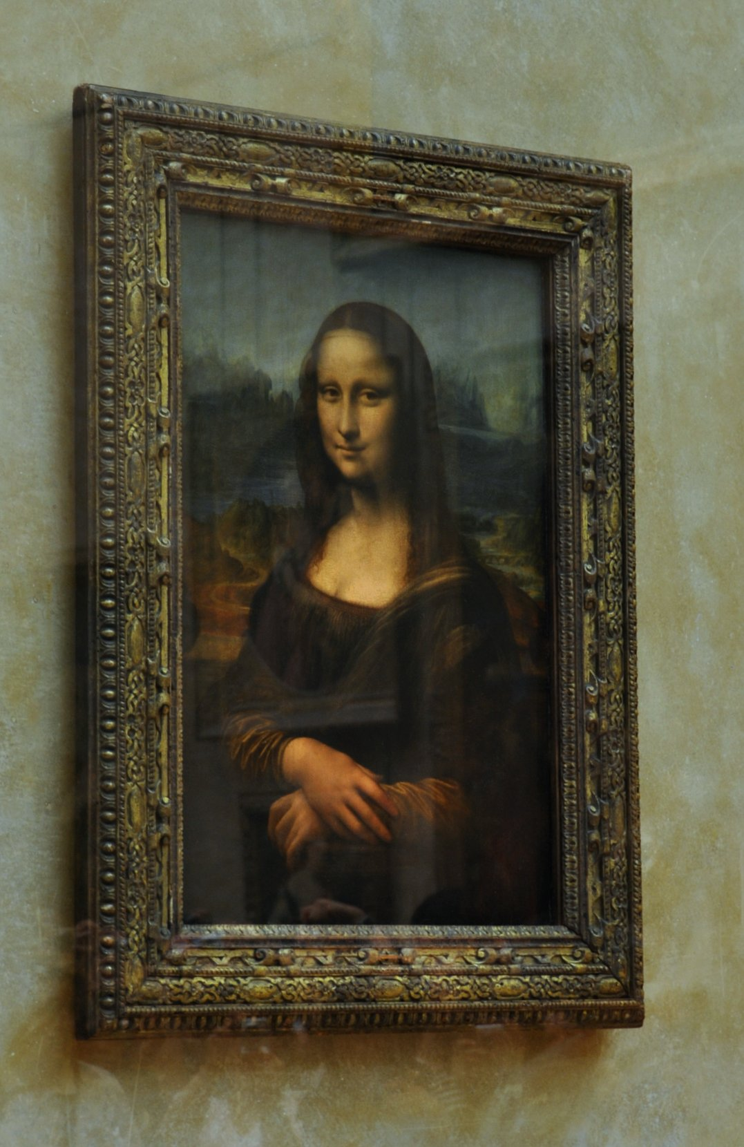 The famous Mona Lisa painting by Leonardo Davinci