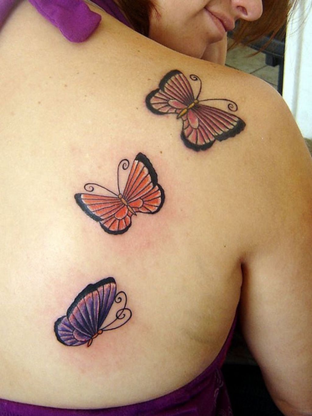 shoulder-three-butterfly-tattoo-for-beautiful-women