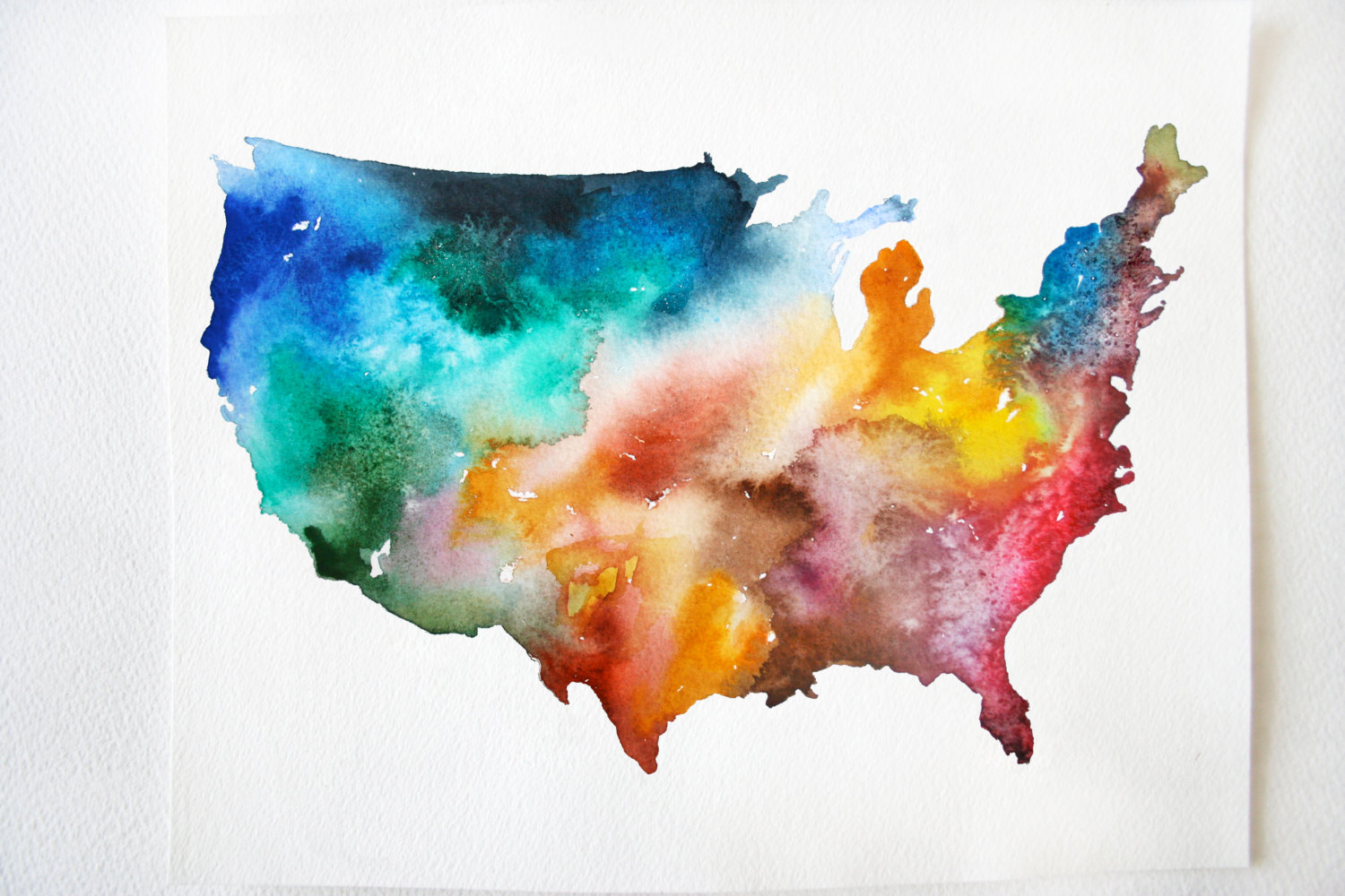 Watercolor Painting, Colorful Watercolor USA