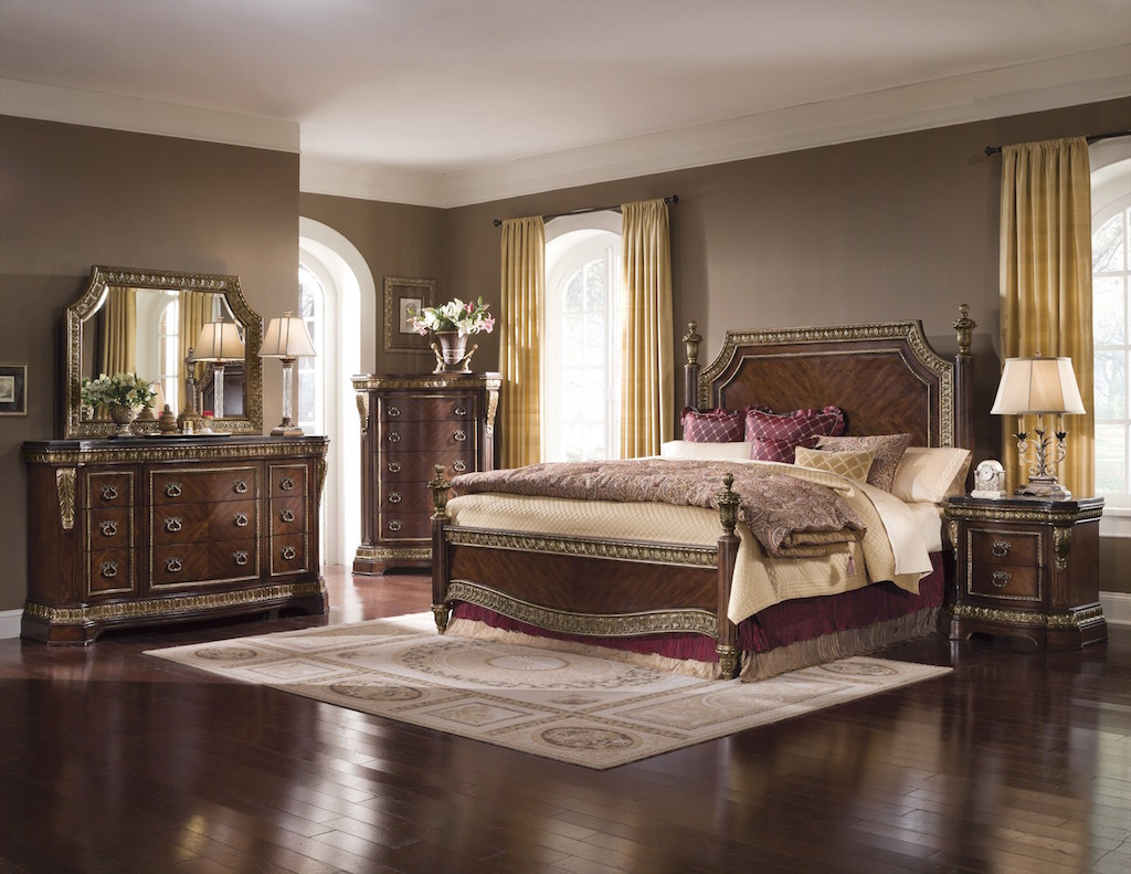 excellent-traditional-bedroom-with-traditional-cherry-and-antique-gold-bedroom
