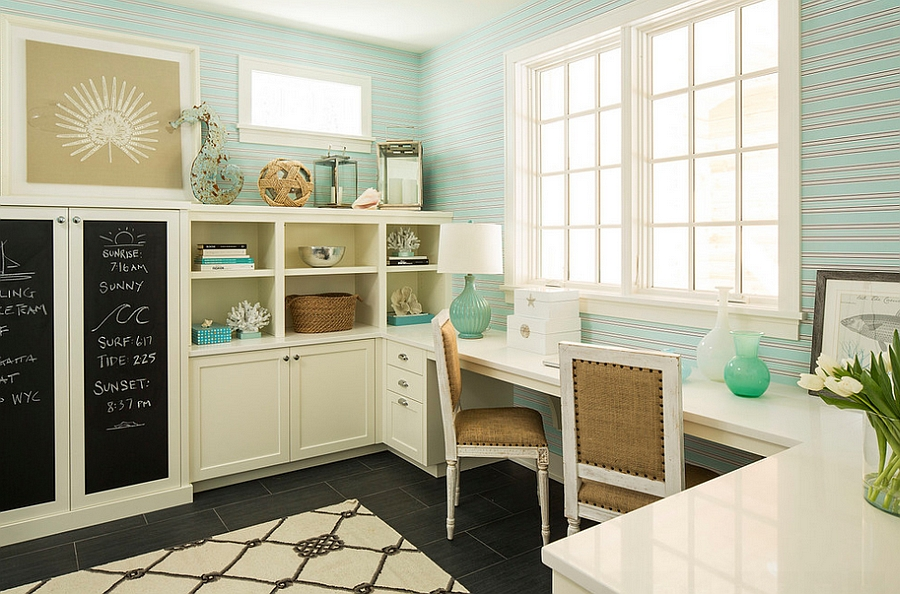 Beach style home office has an elegant tranquil vibe