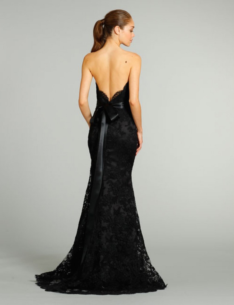 Black Wedding Dresses Open Back Elegant