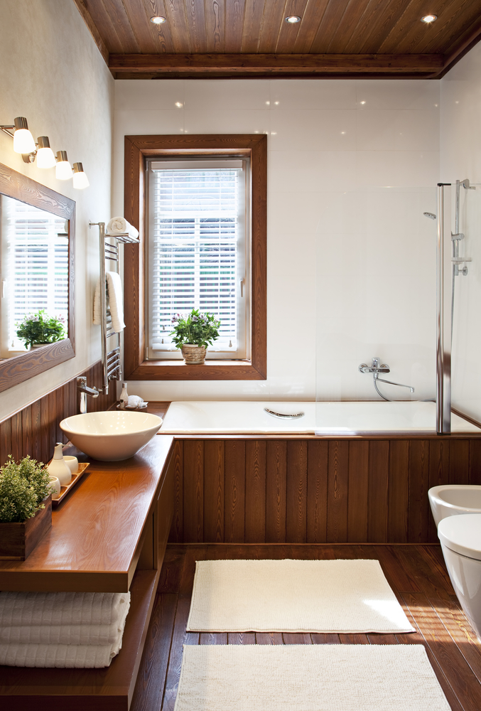 Comfortable Wooden Bathrooms with Dark Wood Floors and Tropical Spa