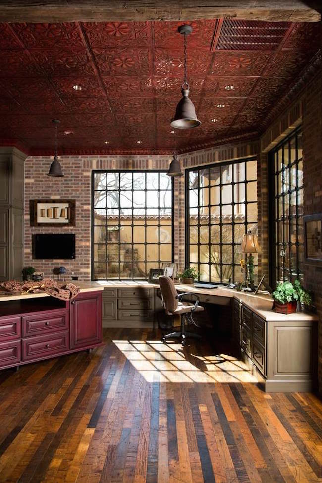 Rustic style home office beautiful metal tiles decorative ceiling
