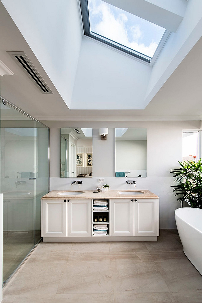 Skylight brings drama and elegance to the contemporary bath