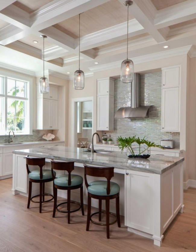 Transitional White and Turquoise Kitchen