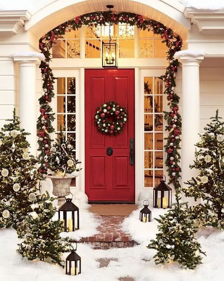 christmas light decoration red painted door