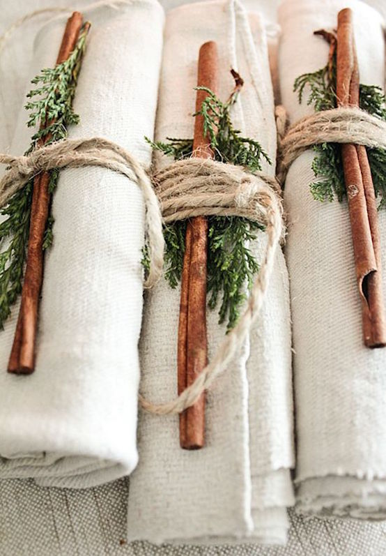 country christmas diy napkin rings with twine