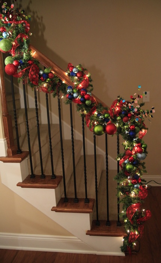 colorful christmas staircase ideas